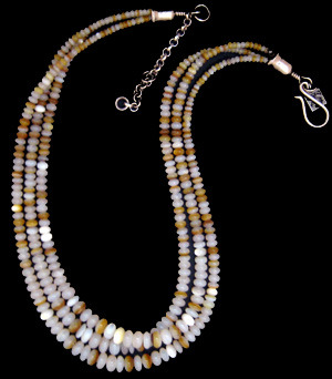 Three Strand White and Gold Natural Mother of Pearl