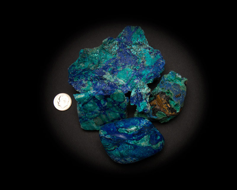 Azurite and Malachite with Chrysocolla Stabilized