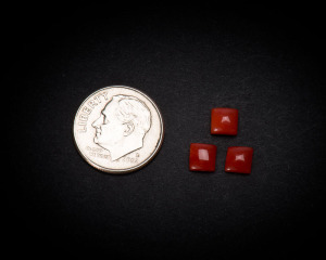 5 mm Square Coral Cabochons