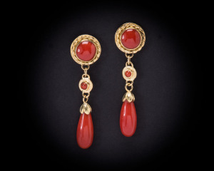 coral teardrop dangle earrings