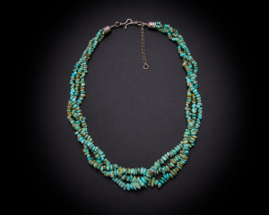 Three Strand Number 8 Turquoise Nugget Necklace