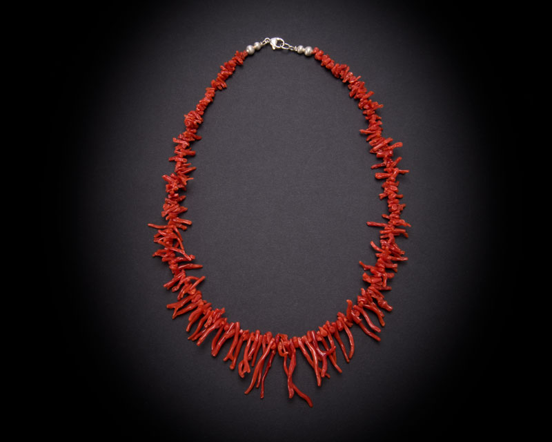 Single strand red mediterranean coral frangia necklace