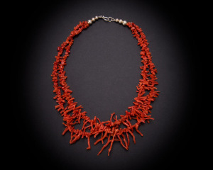 Two strand mediterranean cora frangia necklace