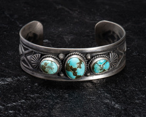 Leonard Chee 3 stone Persian Turquoise Cluster Cuff Bracelet